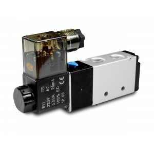 Elektromagnetický ventil 5/2 4V410 1/2 palca pre pneumatické valce 230V alebo 12V, 24V
