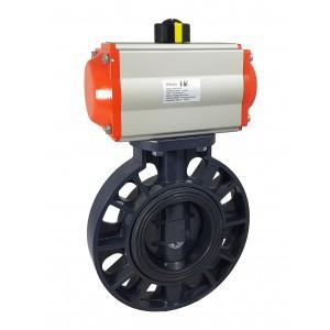 Uzatváracia klapka, škrtiaca klapka DN65 UPVC s pneumatickým pohonom AT75