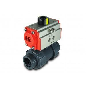 Guľový ventil UPVC 1/2 palca DN15 s pneumatickým pohonom AT32