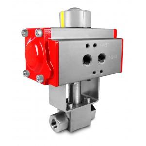 Vysokotlakový guľový ventil 1/4 palca SS304 HB22 s pneumatickým pohonom AT40