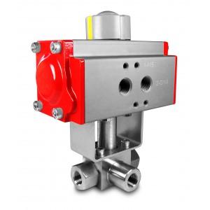 Vysokotlakový 3-cestný guľový ventil 1 palec SS304 HB23 s pneumatickým pohonom AT75