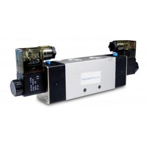Elektromagnetický ventil 4V420 5/2 bistabilný 1/2 palca pre pneumatické valce 230V alebo 12V, 24V