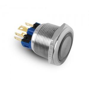 Gombík 22 mm z nehrdzavejúcej ocele IP65 LED 230 V alebo 24 V modrý, chvíľkový