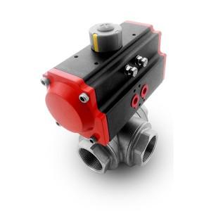 Nerezový trojcestný guľový ventil DN25 1 palec s pneumatickým pohonom AT52