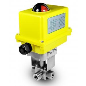 Vysokotlakový 3-cestný guľový ventil 1/4 palca SS304 HB23 s elektrickým pohonom A250