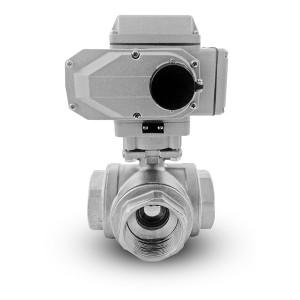 3-cestný guľový ventil z nehrdzavejúcej ocele 2 palce DN50 s elektrickým pohonom A1600