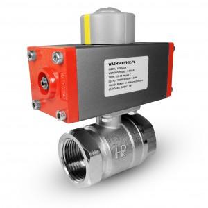 Mosadzný guľový ventil 3/4 palca DN20 s pneumatickým pohonom AT32