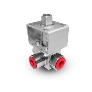 Vysokotlakový 3-cestný guľový ventil 1/4 palca SS304 HB23 montážna doska ISO5211