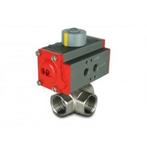 3-cestný mosadzný guľový ventil 1 palec DN25 s pneumatickým pohonom AT40